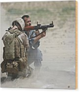 U.s. Marine Watches An Afghan Police Wood Print by Terry Moore