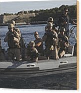 U.s. Marines Approach A Suspect Vessel Wood Print