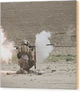 U.s. Marines Fire A Rpg-7 Grenade Wood Print