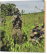 U.s. Marines Guard An Extraction Point Wood Print