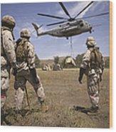 U.s. Marines Observe Ch-53e Super Wood Print