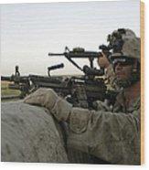 U.s. Marines Observe The Movement Wood Print by Stocktrek Images