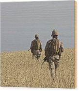 U.s. Marines Patrol A Wadi Near Kunduz Wood Print