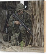 U.s. Marines Prepare To Enter A House Wood Print by Stocktrek Images
