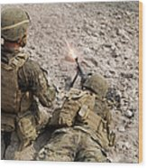 U.s. Marines Provide Suppressive Fire Wood Print