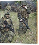 U.s. Marines Secure A Perimeter Wood Print