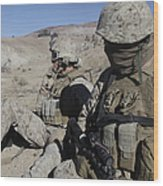 U.s. Marines Take A Break Wood Print