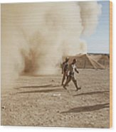 U.s. Marines Walk Away From A Dust Wood Print