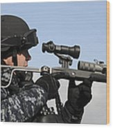 U.s. Navy Chief Uses An La9p Nonlethal Wood Print