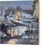 U.s. Navy Destroys Rebel Gunboats Wood Print