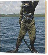 U.s. Navy Diver Jumps Off A Dive Wood Print