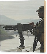 U.s. Navy Petty Officer Stands Watch Wood Print