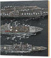 U.s. Navy Ships Conduct A Replenishment Wood Print