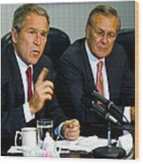 U.s. President George W. Bush Answers Wood Print