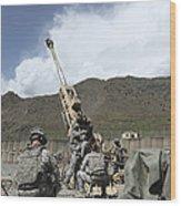 U.s. Soldiers Prepare To Fire Wood Print