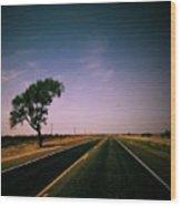 #usa #america #road #tree #sky Wood Print