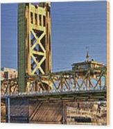 Usa, California, Sacramento, Tower Bridge Over Sacramento River Wood Print
