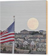 Usa Flag And Moon Wood Print