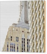 Usa, New York City, Detail Of Empire State Building Wood Print