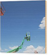 Usa, New York, Long Island, New York City, Cherry Pickers On Construction Site Wood Print