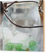 Usa, New York State, New York City, Brooklyn, Sea Glass In Jar Wood Print