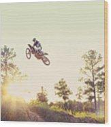 Usa, Texas, Austin, Dirt Bike Jumping Wood Print by King Lawrence