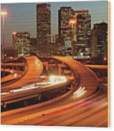 Usa, Texas, Houston City Skyline And Motorway, Dusk (long Exposure) Wood Print