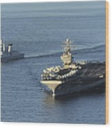 Uss Abraham Lincoln And French Navy Wood Print