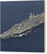 Uss Abraham Lincoln Transits The Indian Wood Print by Stocktrek Images
