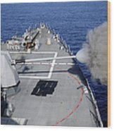 Uss Halsey Fires Its Mk-45 Wood Print