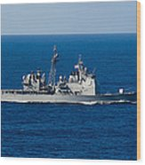 Uss Mobile Bay Transits The Pacific Wood Print