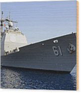 Uss Monterey Arrives Wood Print