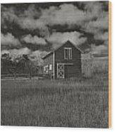 Utah Barn In Black And White Wood Print