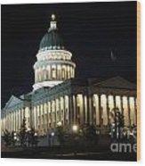 Utah Capitol At Night Wood Print by Gary Whitton