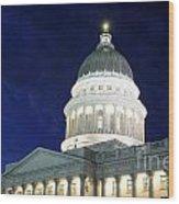 Utah Capitol Building At Twilight Wood Print