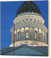 Utah State Capitol Building Dome At Sunset Wood Print