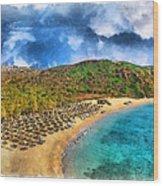 Vai Beach Wood Print