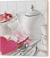 Valentine Cookies With Teapot And Cups Wood Print by Sandra Cunningham
