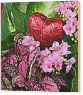 Valentine Heart And Flowers Wood Print