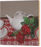 Valentine Tea For Two  Wood Print