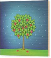Valentine Tree With Hearts And Stars Wood Print