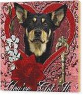 Valentines - Key To My Heart Australian Kelpie Wood Print by Renae Laughner