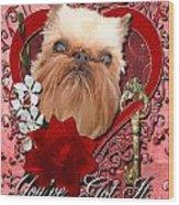Valentines - Key To My Heart Brussels Griffon Wood Print