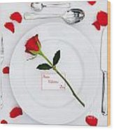 Valentines Place Setting With Red Rose And Petals Wood Print