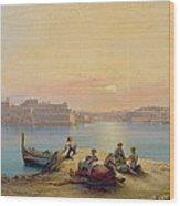 Valetta Harbour At Sunset Wood Print