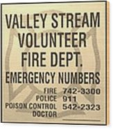 Vallet Stream Fire Department In Sepia Wood Print