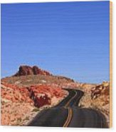 Valley Of Fire Road And Sky Nevada Wood Print
