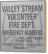 Valley Stream Fire Department In Black And White Wood Print