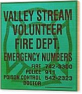 Valley Stream Fire Department In Irish Green Wood Print