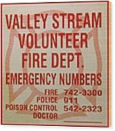 Valley Stream Fire Department Wood Print